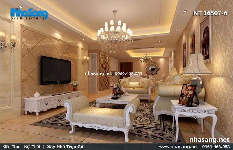 Mẫu nội thất phòng khách tân cổ điển cho nhà ống 5m