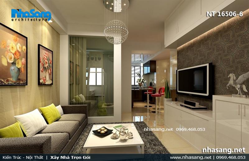 phòng khách chung cư đẹp rộng 3m