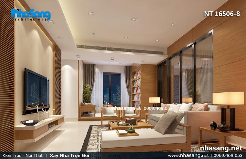 phòng khách chung cư đẹp gỗ công nghiệp
