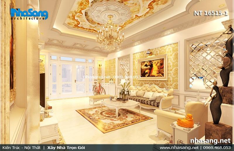 phòng khách đẹp tân cổ điển nhà ống 5m