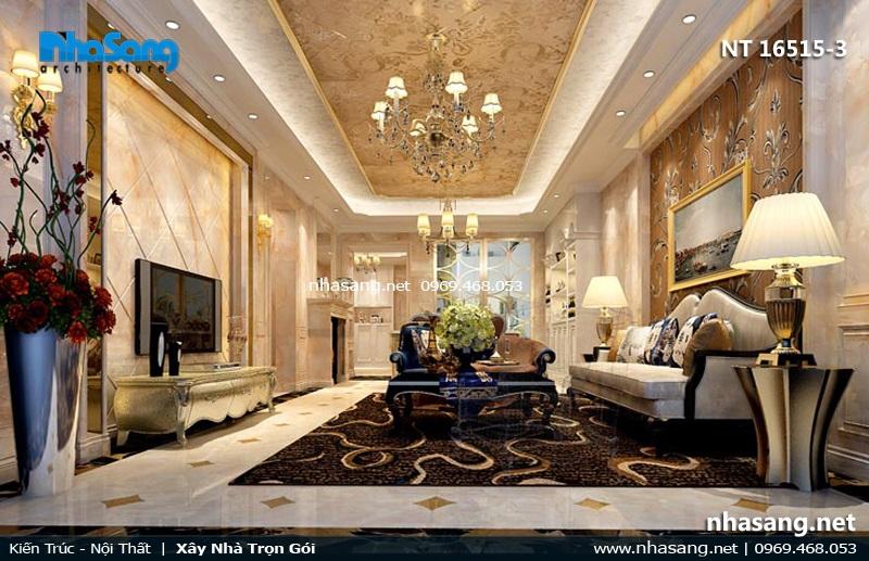 phòng khách tân cổ điển đẹp cho nhà ống 4.5m
