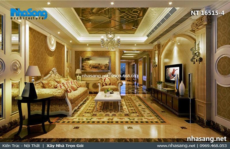 phòng khách đẹp 4x6m phong cách tân cổ điển