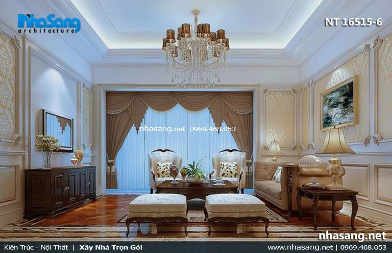 phòng khách đẹp 5x5m tân cổ điển cho nhà ống