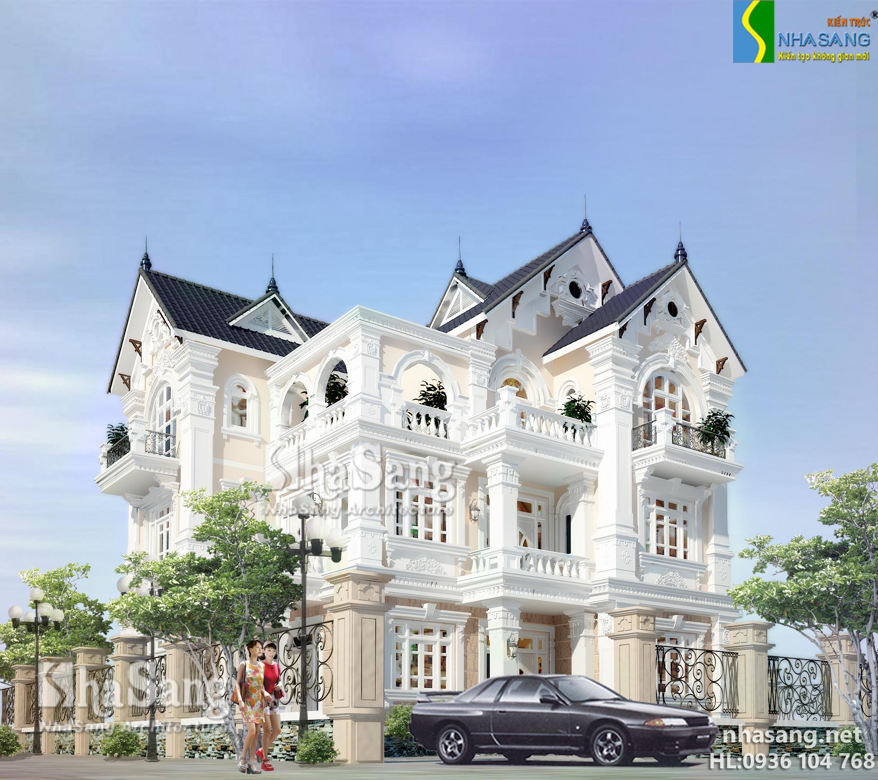 mẫu thiết kế nhà biệt thự kiểu pháp 3 tầng đẹp