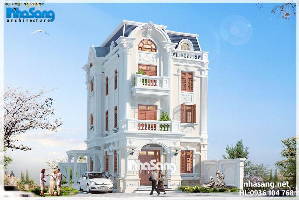biệt thự pháp đẹp cho khu đô thị mới Việt Hưng, Long Biên, Hà Nội - phối cảnh góc