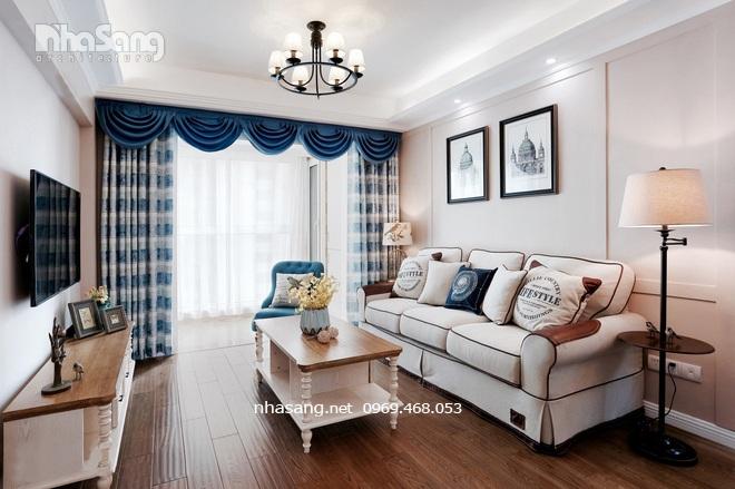thiết kế đơn giản phòng khách chung cư kiểu mỹ
