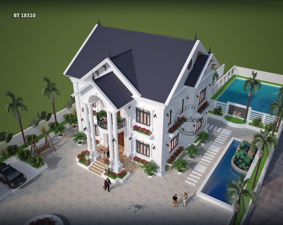 Phối cảnh tổng thể - Mẫu thiết kế nhà vườn 2 tầng đẹp ở nông thôn