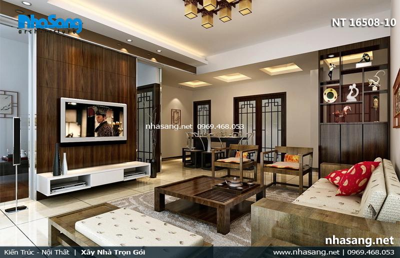 mẫu phòng khách đẹp làm bằng gỗ tự nhiên