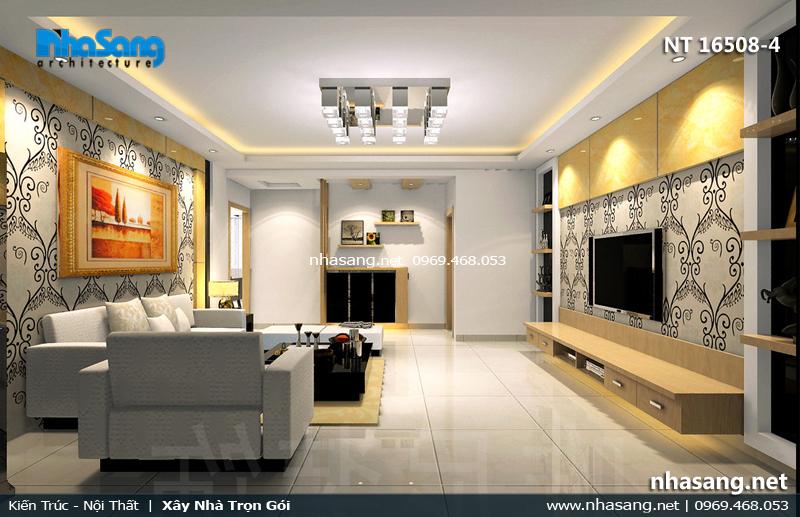 mẫu phòng khách chung cư nhỏ với giấy dán tường