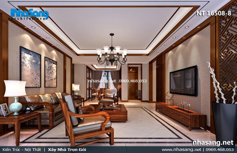 phòng khách chung cư hiện đại với gỗ sồi